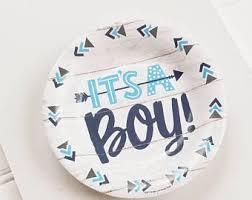 20ct ITS A BOY 7 Paper Plates Blue Baby Shower Rustic Bohemian Arrow Theme