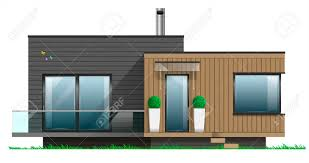 100 A Modern House Facade Of With Terrace Cottage In Vector