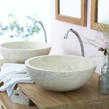 vasque à poser marbre l 40 x p 40 cm diam 40 cm beige naturel