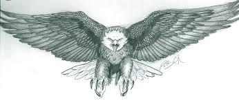 Latest Black Ink Flying Eagle Tattoo Design