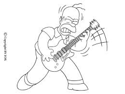 Homer Playing The Guitar Coloring Page