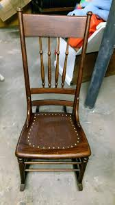 How To Replace A Leather Seat In An Antique Chair ... Arts Crafts Mission Oak Antique Rocker Leather Seat Early 1900s Press Back Rocking Chair With New Pin By Robert Sullivan On Ideas For The House Hans Cushion Wooden Armchair Porch Living Room Home Amazoncom Arms Indoor Large Victorian Rocking Chair In Pr2 Preston 9000 Recling Library How To Replace A An Carver Elbow Hall Ding Wood Cut Out Stock Photos Rustic Hickory Hoop Fabric Details About Armed Pressed Back