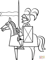 Cartoon Knight On Horse