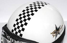 3 Vinyl Motorcycle Vespa Helmet Checkered Stripe Graphic Decal