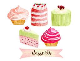 Cupcake clipart bakery clipart tea party clipart cakes clipart desserts clipart shabby chic clipart watercolor cupcakes clipart from rosabebe on Etsy