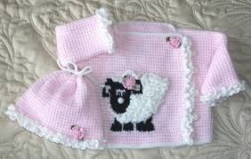 baby sweater matching hat set and blanket tunisian crochet