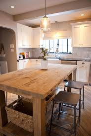 kitchen rustic wood kitchen island wicker basket metal stool