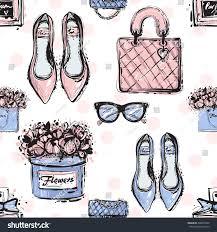 Vector Hand Drawn Graphic Fashion Sketch Shoes Clutch Handbag French Perfume Flower Box