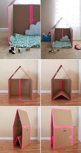 Making A Collapsible Playhouse Out Of Simple Cardboard Box Is Easier Than You Think