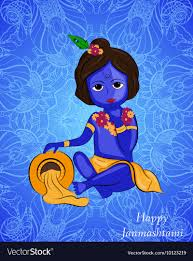 100 Krisana Little Cartoon Lord Krishna With Pot Of Butter