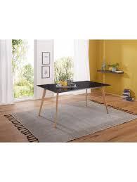 finebuy esstisch 120cm esszimmertisch retro schwarz matt eiche beine küchentisch esszimmer tisch klingel