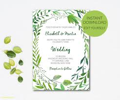 Greenery Wedding Invitation Template Pdf Rustic Green Editable