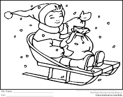 Winter Coloring Pages Sledding Page Free Online Within In The Snow