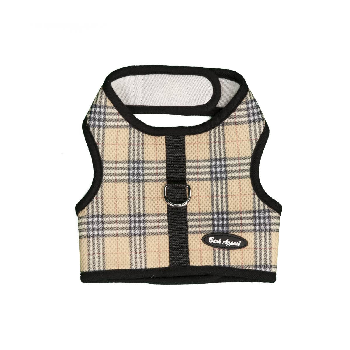 Bark Appeal Plaid Mesh Wrap N Go Harness - Tan, Large