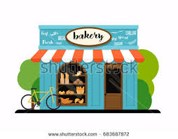 The facade of a bakery shop Flat design modern vector illustration concept