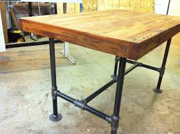 Reclaimed Industrial Kitchen Island Dining Table Featuring Antique Barnwood Butcher Block And Steel Pipe Base