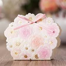 50 Rose Gold Spring Wedding Favor Boxes DIY Favors For Guests Embossed Flowers Gift Pink From