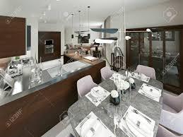 modernes esszimmer und küche schöne moderne möbel hat weiche farben braun beige und grau 3d darstellung