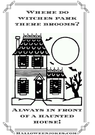 Halloween Fun Riddles by Black And White Halloween Joke Cartoon Haunted House 15 Cpal