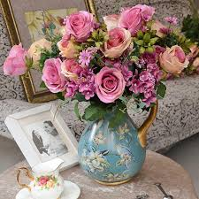 Online Cheap 1 Bouquet China Rose Artificial Flower With Hydrangea Rustic Home Wedding Accessories Fashion Decorative Silk Flowers By Ygh942017
