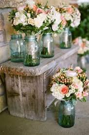 Rustic Wedding Bouquets Using Vintage Blue Ball Mason Jars For Flower Vases Decor