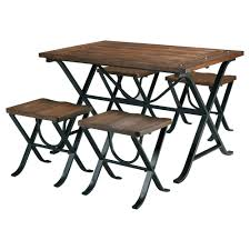 Industrial Style 5 Piece Dining Room Set With Table And 4 Backless Stools