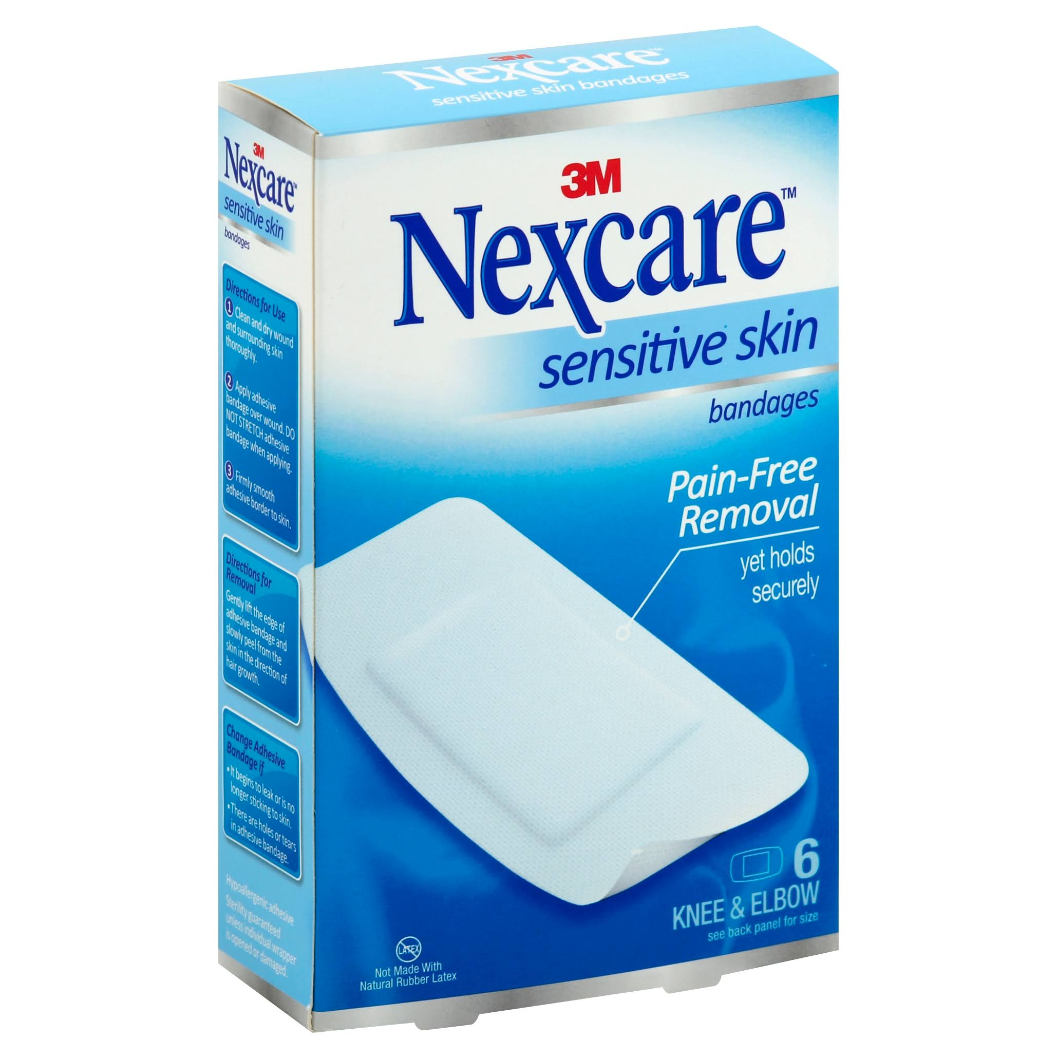 3M Nexcare Sensitive Skin Bandages - 6 Knee & Elbow