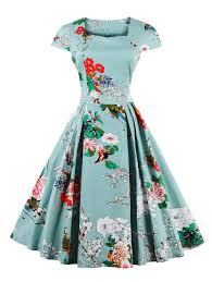 retro cape sleeve floral print sweetheart neck flare dress in