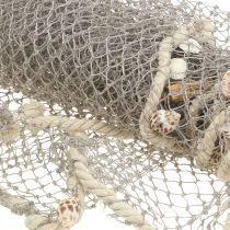 dekohänger fisch im netz maritim bad deko holzfische 2st