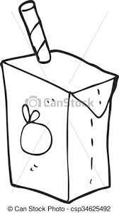 Black And White Cartoon Juice Box Vector