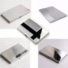 stainless steel business id credit card holder name card wallet