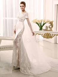 Mermaid Watteau Train Ivory Applique Bridal Wedding Dress With Scoop Neck