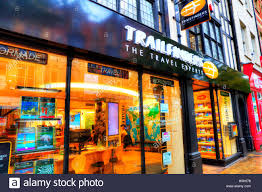 Trailfinders Travel Agent Agents Agency Shop Front Store Window Display Exterior Building Sign Signs Trail Finders GB UK England
