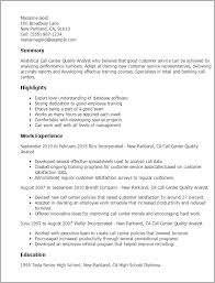 Call Center Quality Analyst Resume Template Best Design Tips