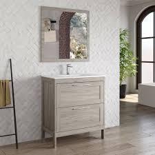 landhaus badmöbel waschplatz set mit spiegel tarifa 110 kiefer grau b h t ca 81 200 45cm