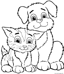 Cute Cat And Dog Sd7c2 Coloring Pages Print Download