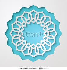Round Lacy Frame With Cutout Borders On Blue Vintage Paper Cut 3d Ornamental Background
