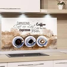 küchenrückwand glas kaffee spruch grau spritzschutz herd