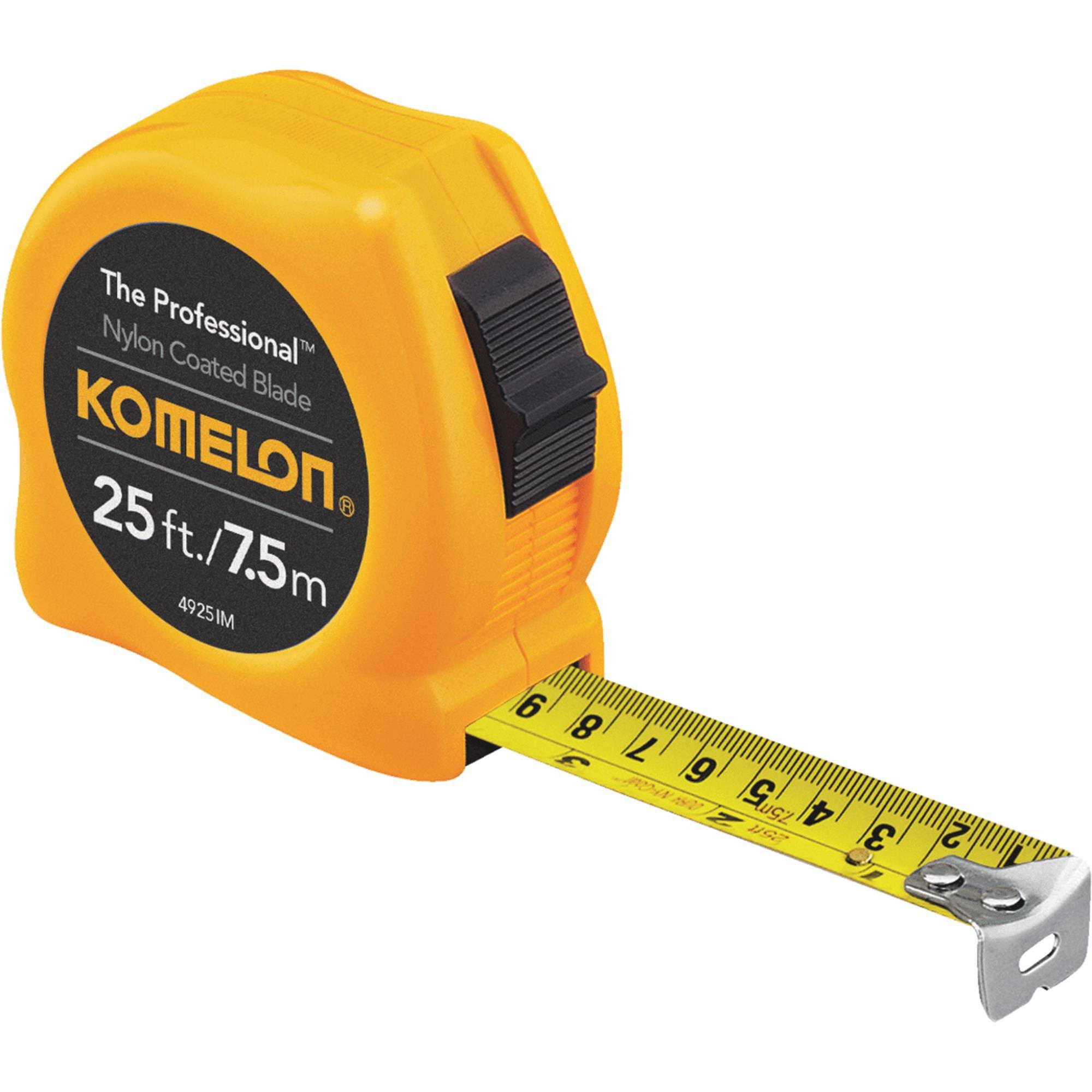 Komelon 4925IM The Professional Metric Scale Power Tape - Yellow, 25'