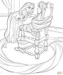 Download Coloring Pages Rapunzel Page Ties Up Flynn Free Printable