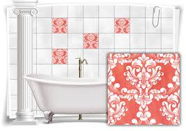 fliesen aufkleber fliesen bilder damast barock nostalgie retro floral terracotta bad wc deko