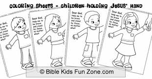 Close Up Bible Coloring Sheets Of Ethnic Children Holding The Hand Jesus