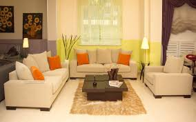 Serene Living Room Decorated with Cream Wall Paint Color and