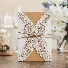 Rustic Laser Cut Lace Sleeve Wedding Invitations Cards Kits For Engagement Bridal Shower Birthday Cardstock With
