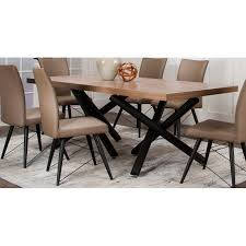 Hickory And Black Modern Dining Table