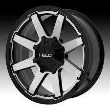 100 Helo Truck Wheels HE909 Machined Black Custom Rims Custom