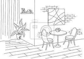 fototapete esszimmer grafik schwarz weiß skizze illustration vektor