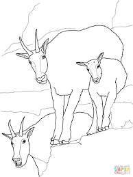 Coloring Pages Free Goat Pictures To Color Cute Mountain Baby Family Page