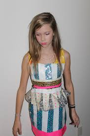 my 11 year old daughter modeling her duct tape dress hand made