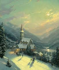 Thomas Kinkade Christmas Tree Village by Moonlit Village U2013 12 U2033 X 16 U2033 Framed Textured Print The Thomas